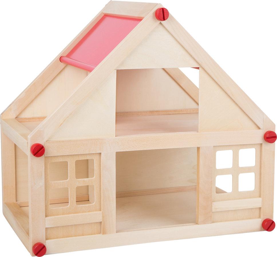 Drevený skladací domček pre bábiky