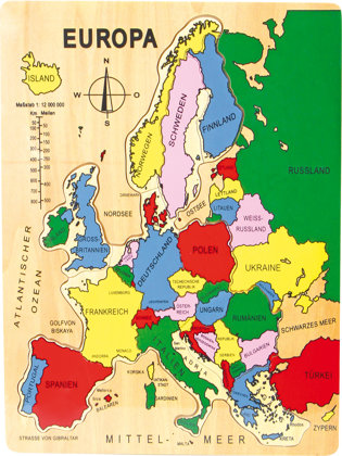 Drevené puzzle Európa po nemecky
