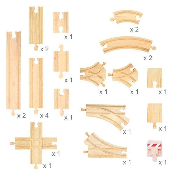 Set drevené koľajnice 25ks